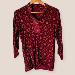Vintage Red Paisley Print Top Size S